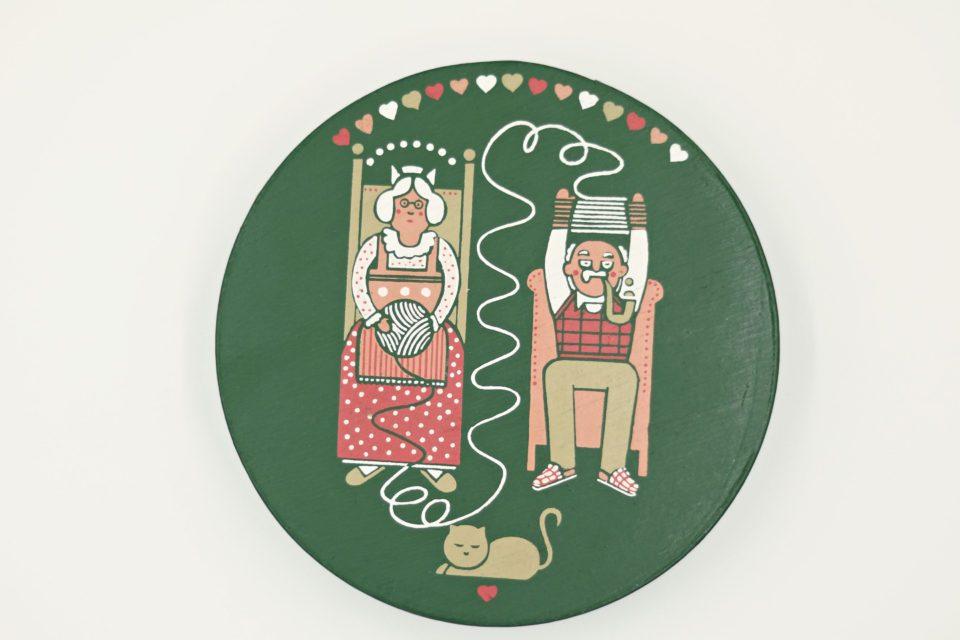 癒し系イラストが優しいヴィンテージ木製輪針ケース(緑)